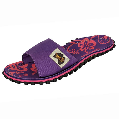 Gumbies Islander Slide Damen, purple hibiscus